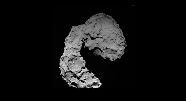 This view shows Comet 67P/Churyumov-Gerasimenko as seen by the OSIRIS wide-angle camera on ESA's Rosetta spacecraft.