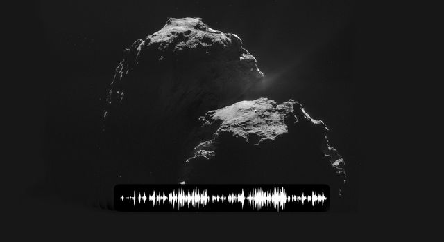 Sound wave superimposed on an image of comet 67P/Churyumov-Gerasimenko