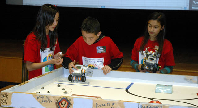 students from San Cayetano Elementary School race their robot
