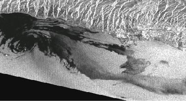 radar image of Santa Barbara Channel, showing natural oil seeps