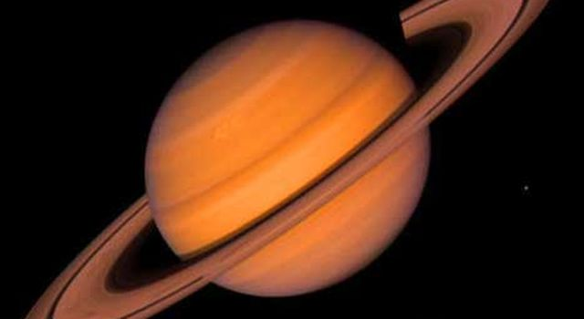 Saturn, imaged by Voyager 2