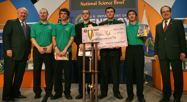 Winners from the National Science Bowl in Washington, DC. on May 5, 2008