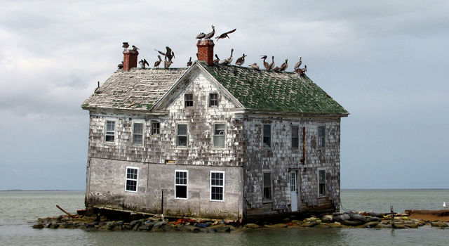 The last house on Holland Island in Chesapeake Bay, Maryland