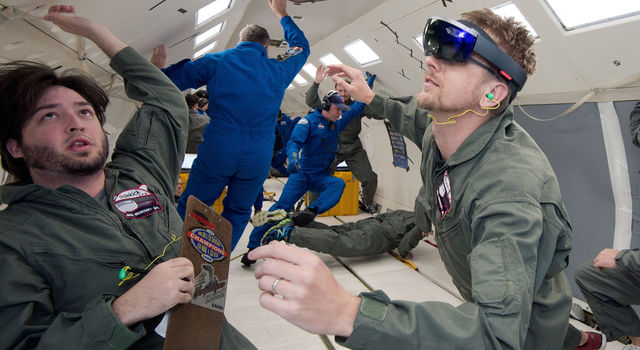 NASA and Microsoft engineers test Project Sidekick on NASA's Weightless Wonder C9 jet.