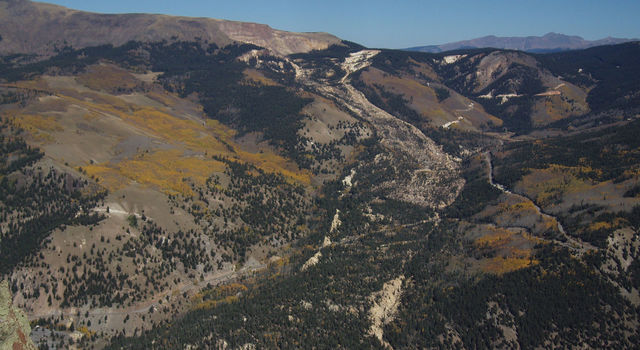This image shows the Slumgullion Landslide in southwestern Colorado