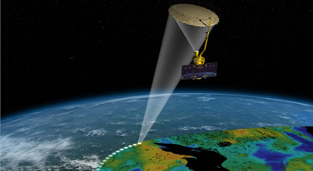 Artist's rendering of the SMAP instrument. Image credit: NASA