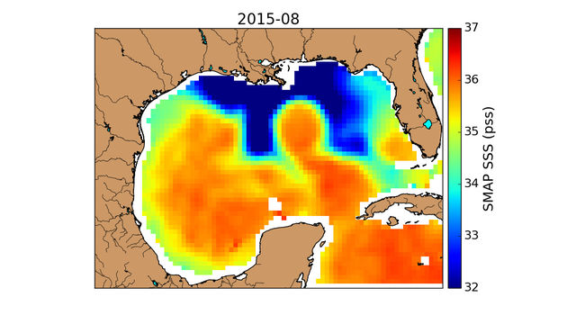 SMAP observed a horseshoe-shaped plume of freshwater (dark blue) in the Gulf of Mexico after Texas flooding in May 2015.