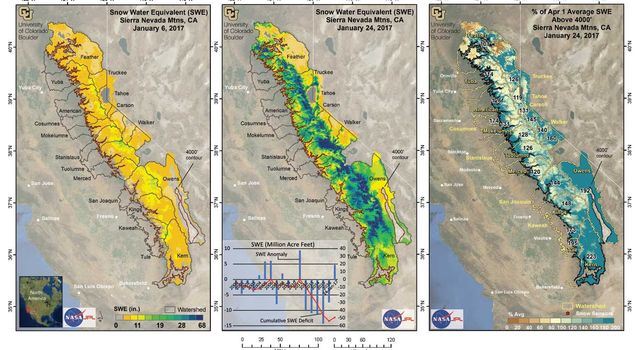 These maps show how much water was stored in the Sierra snowpack on Jan. 6 (left) and Jan. 24 (center), 2017.