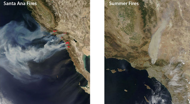 An October 2007 image, left, of Southern California wildfires shows how offshore Santa Ana winds control these events.