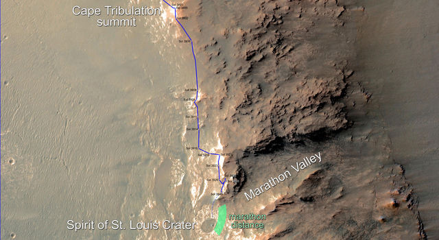 Rover's Progress Toward Mars Marathon, Sol 3948