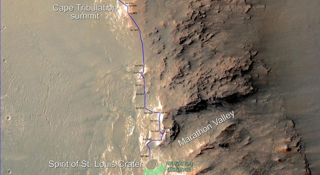 Rover's Progress Toward Mars Marathon, Sol 3966