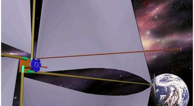 Artist's concept of solar sail near Earth