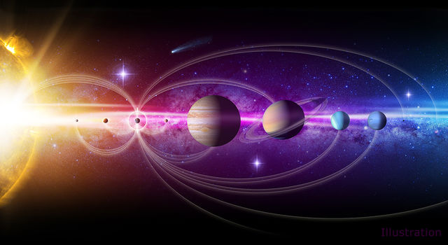 Artist's illustration of our solar system