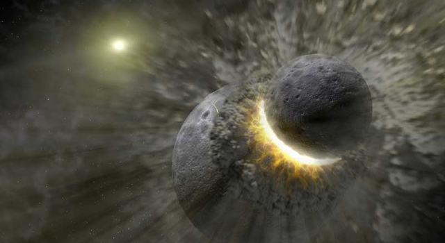 artist concept illustrating how a massive collision of objects smashed together to create the dust ring around the nearby star Vega