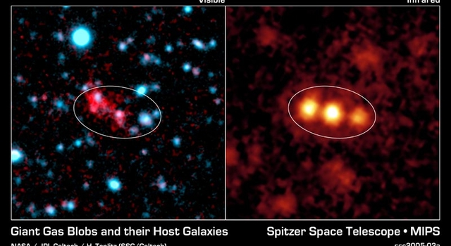 Spitzer reveals three monstrously bright galaxies, trillions of times brighter than the Sun, in the process of merging together