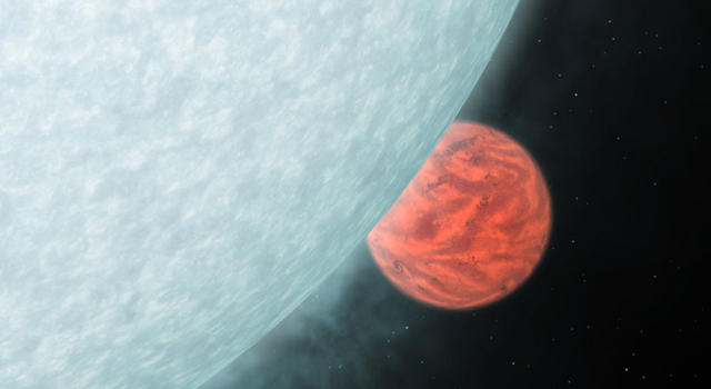 artist's concept showing what an infrared view of star and its planetary companion might look like