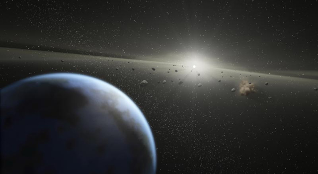 artist's concept of asteroid belt around a star