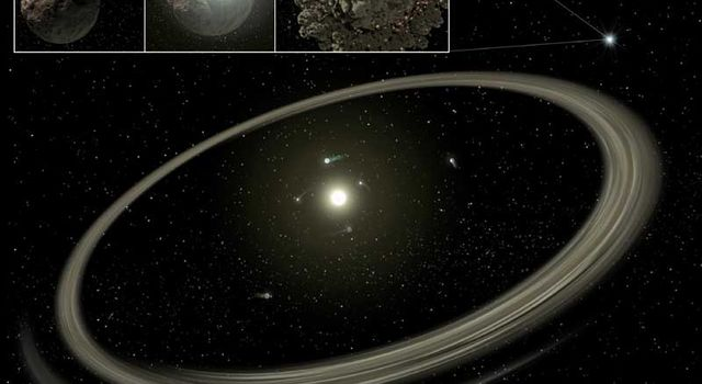 a young star circled by full-sized planets and rings of dust beyond
