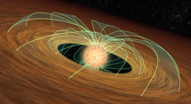 artist's concept shows a dusty planet-forming disk in orbit around a whirling young star