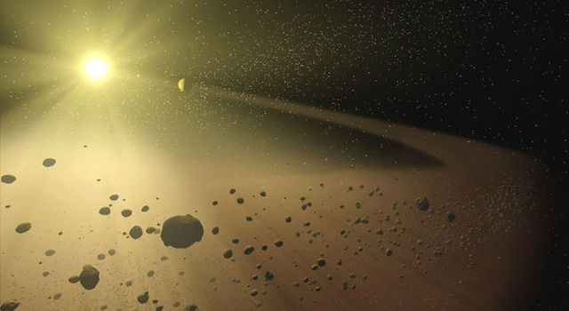 artist's concept of an asteroid belt