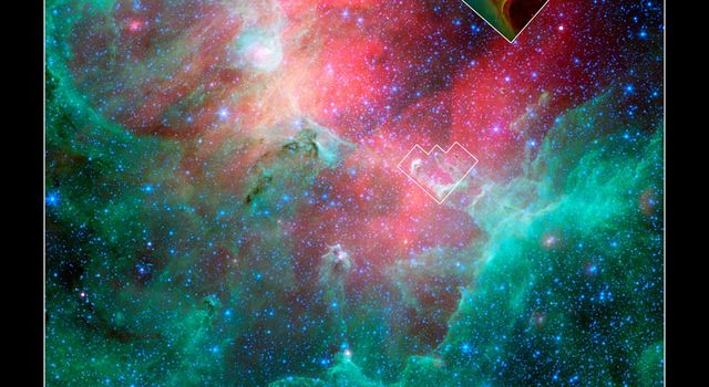 Infrared view of the Eagle nebula, with an inset of Hubble's view