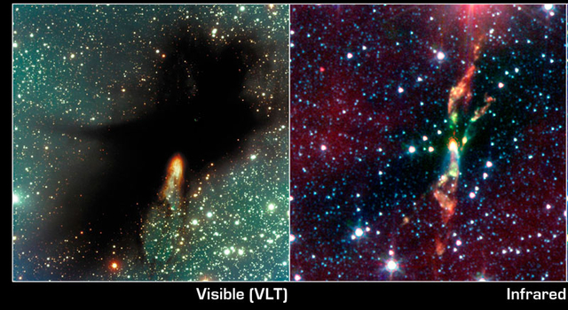 infrared view of cosmic cloud BHR 71