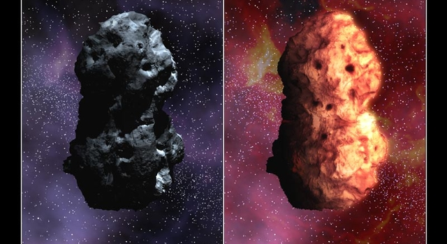 artist's concept showing visual (left) and infrared views of Tempel 1, based on Hubble and Spitzer data
