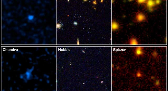 infrared image of patch of sky in Great Observatories Origins Deep Survey