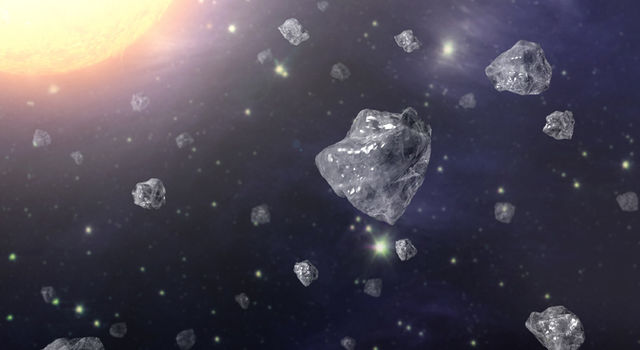 This artist's concept shows a multitude of tiny diamonds next to a hot star.