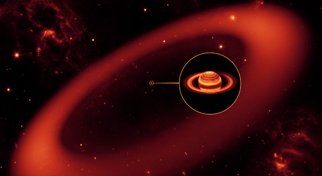 Artist concept of an invisible ring around Saturn