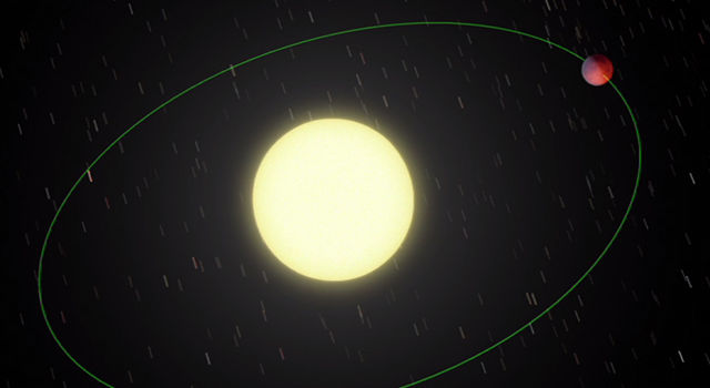 This animation illustrates an unexpected warm spot on the surface of a gaseous exoplanet.