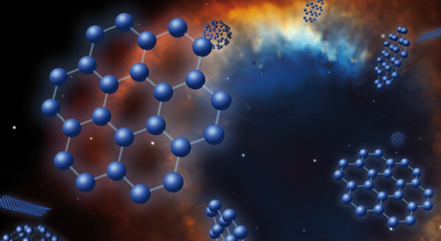 An artist's concept of graphene, buckyballs and C70 superimposed on an image of the Helix planetary nebula, a puffed-out cloud of material expelled by a dying star