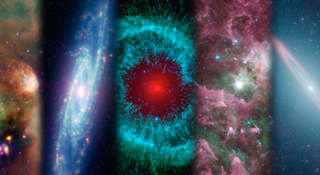 A montage of images taken by NASA's Spitzer Space Telescope over the years.