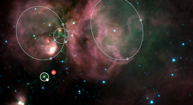 A screen shot from the Milky Way Project illustrates how users are asked to catalog objects in our galaxy.