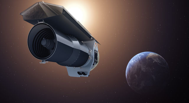 This artist's concept shows NASA's Spitzer Space Telescope in its 'Beyond' mission phase.