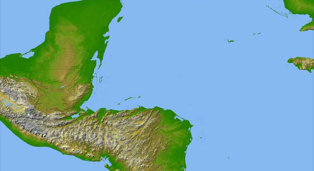 topographic map of Central America