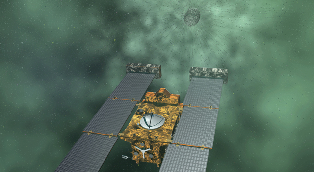 Artist's concept of NASA's Stardust-NExT mission, which will fly by comet Tempel 1 on Feb. 14, 2011.