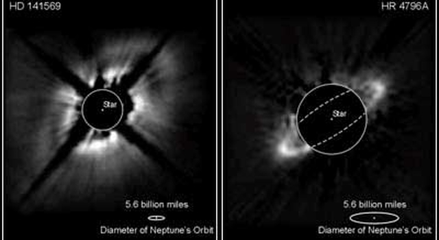 Using near-infrared, disk is seen around a star (Hubble Space Telescope)
