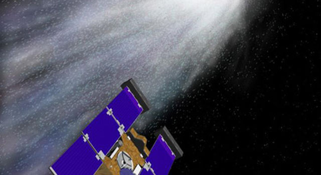 An artist's rendering depicts the Stardust spacecraft as it