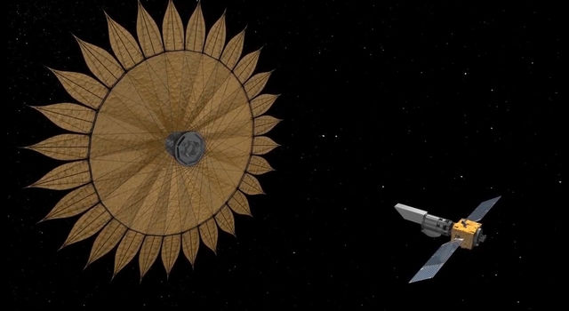 This artist's concept shows the geometry of a space telescope aligned with a starshade