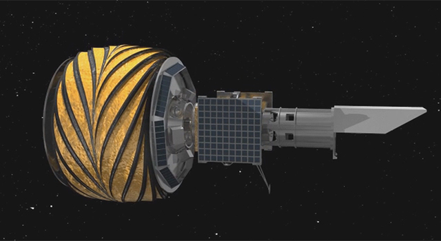 This animation shows the prototype starshade, a giant structure designed to block the glare of stars so that future space telescopes can take pictures of planets.