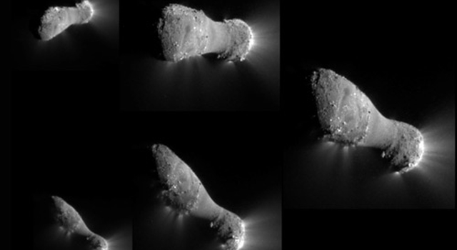 Montage of images showing comet Hartley 2 during EPOXI's flyby
