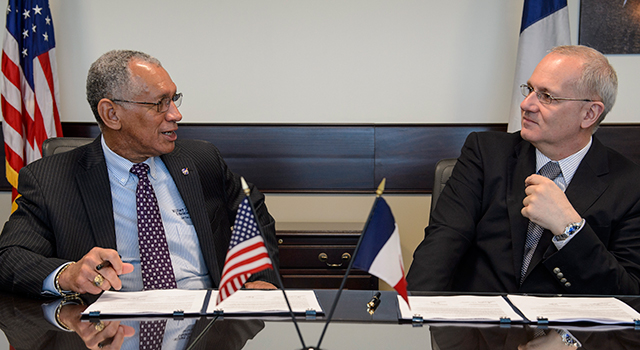 Charles Bolden, left, and Centre National d'Études Spatiales (CNES) President Jean-Yves Le Gall