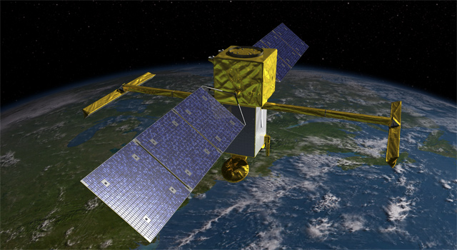An artist's concept of the Surface Water and Ocean Topography (SWOT) satellite