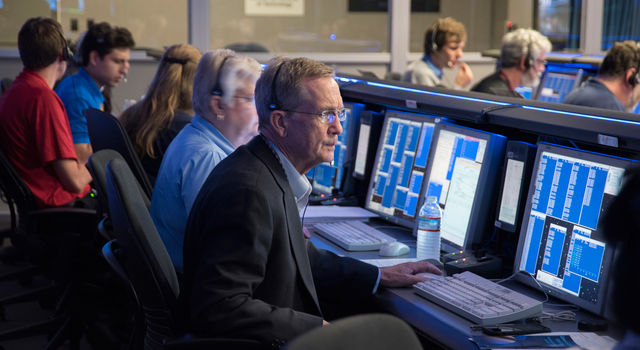 Cassini Project Manager Earl Maize waits for Cassini's signal with the spacecraft's operations team in mission control at JPL on April 26, 2017.