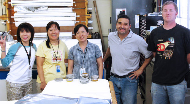 JPL's shield shop [left to right]: Clara Nguyen, Wendy Hong, Lien Pham, Mark Duran and Richard Frisbee.