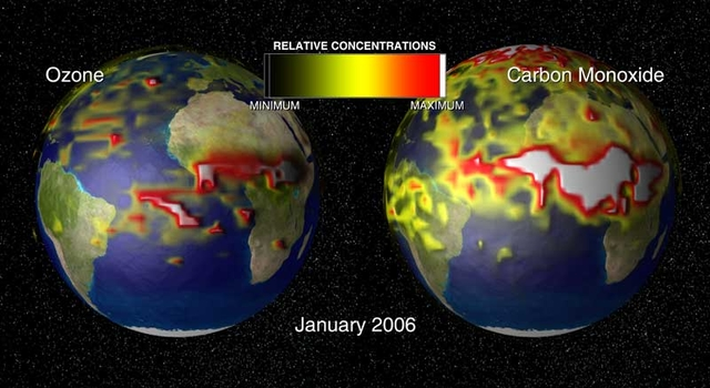 globes showing concentrations of ozone and carbon monoxide