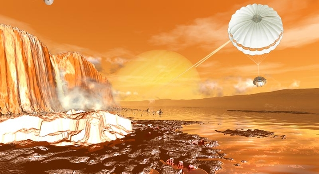 artist's concept of Huygens descending to Titan