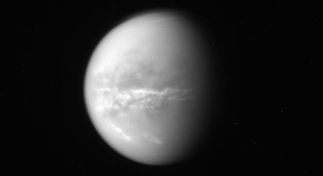 NASA's Cassini spacecraft obtained this raw image of Saturn's moon Titan on Oct. 18, 2010.