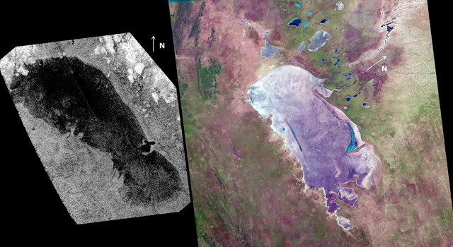 A recent study finds that the lake known as Ontario Lacus on Saturn's moon Titan (left)